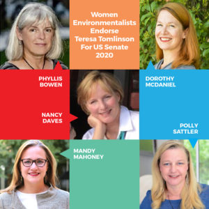 Five women environmentalists endorse Teresa Tomlinson for US Senate 2020